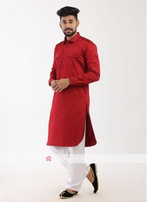 Maroon Pathani suit