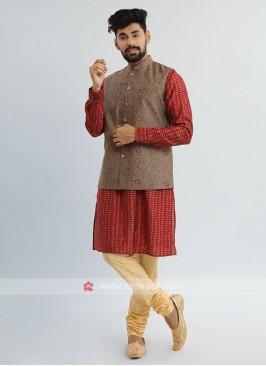 Maroon Nehru Jacket Suit
