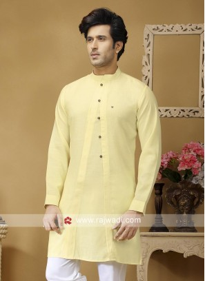 Light Yellow Linen Kurta