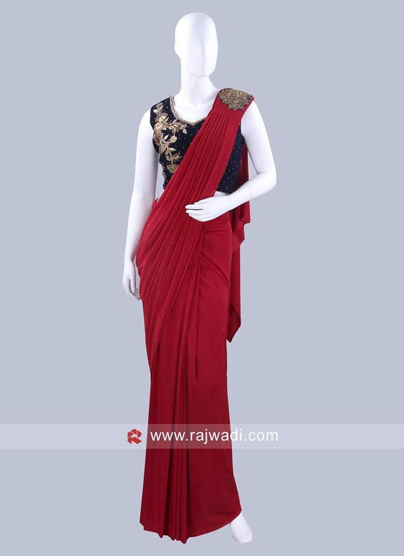 Maroon Pre Stitched Saree with Contrast Choli