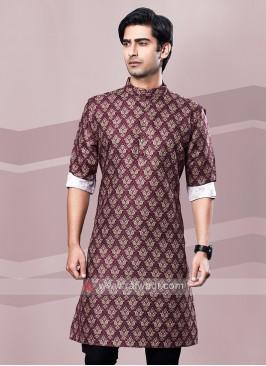 Maroon Printed Kurta Pajama