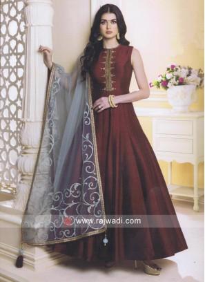 Maroon Raw Silk Anarkali Suit