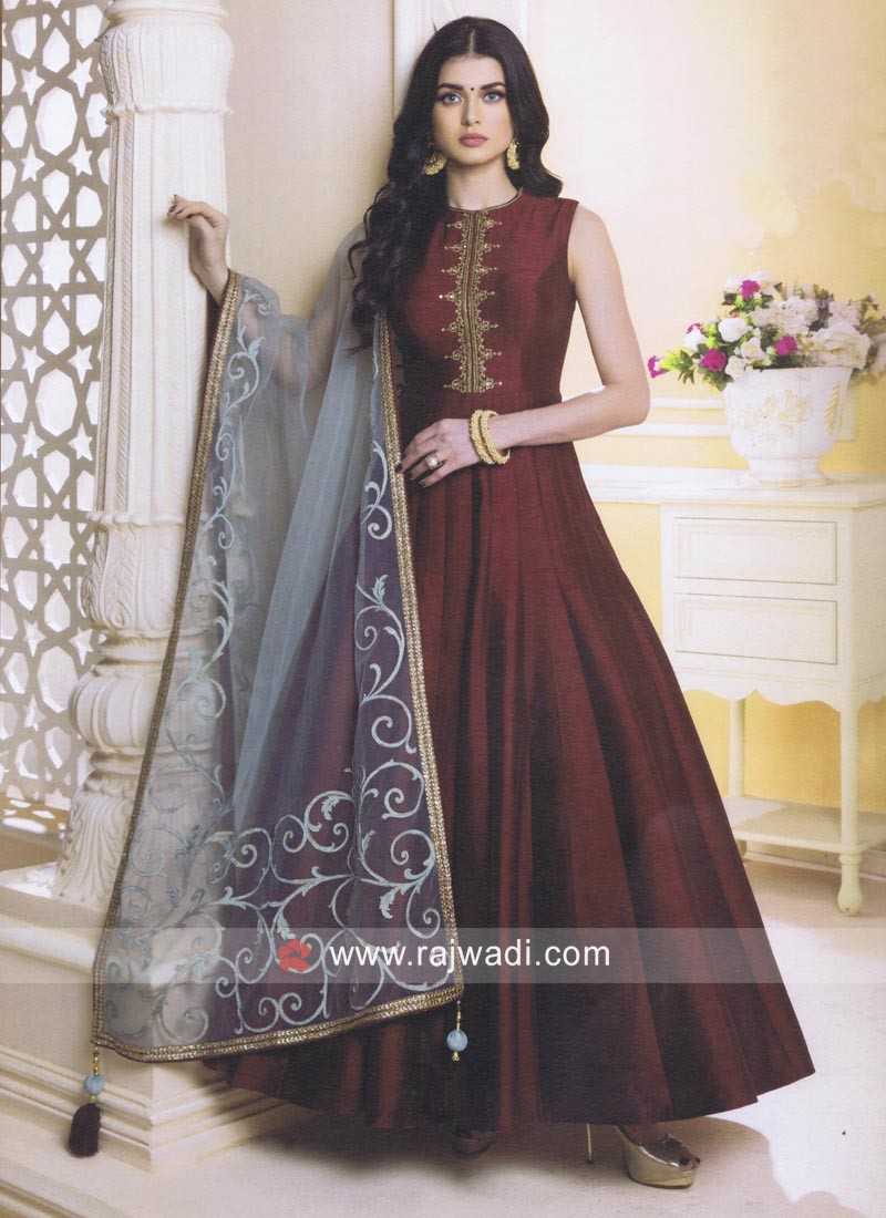 06a46099a8 Maroon Raw Silk Anarkali Suit. Hover to zoom