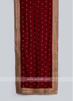 Maroon Raw Silk Sherwani Dupatta