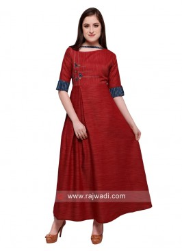 Maroon Rayon Semi Anarkali Long Kurti