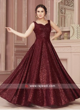 Maroon Readymade Gown