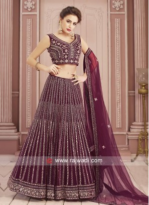 Maroon Resham Work Choli Suit