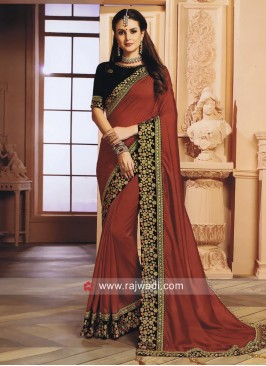 Maroon Saree with Black Blouse