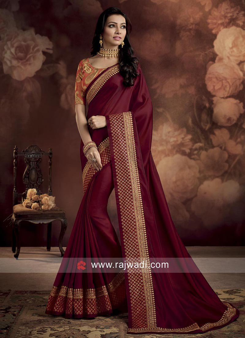 ed99c38e5c6939 Maroon Saree with Contrast Blouse. Hover to zoom