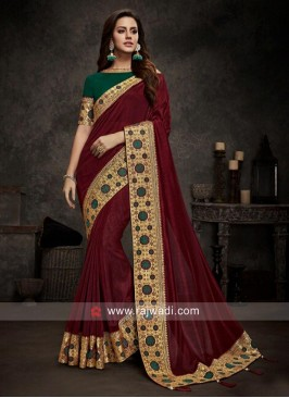 Maroon Sari with Dark Green Blouse