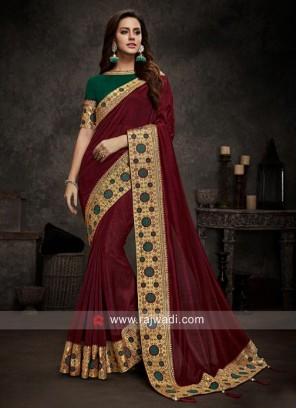 Maroon Sari with Dark Green Blouse