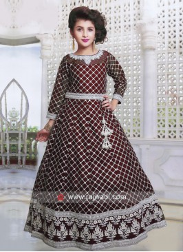 Maroon Satin and Net Gown for Kids
