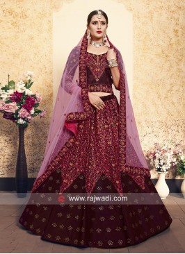 Maroon Satin Heavy Lehenga Set