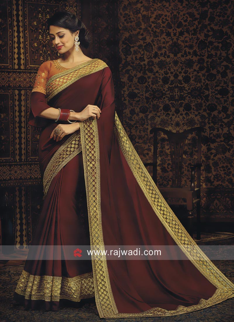 Maroon Satin Silk Saree