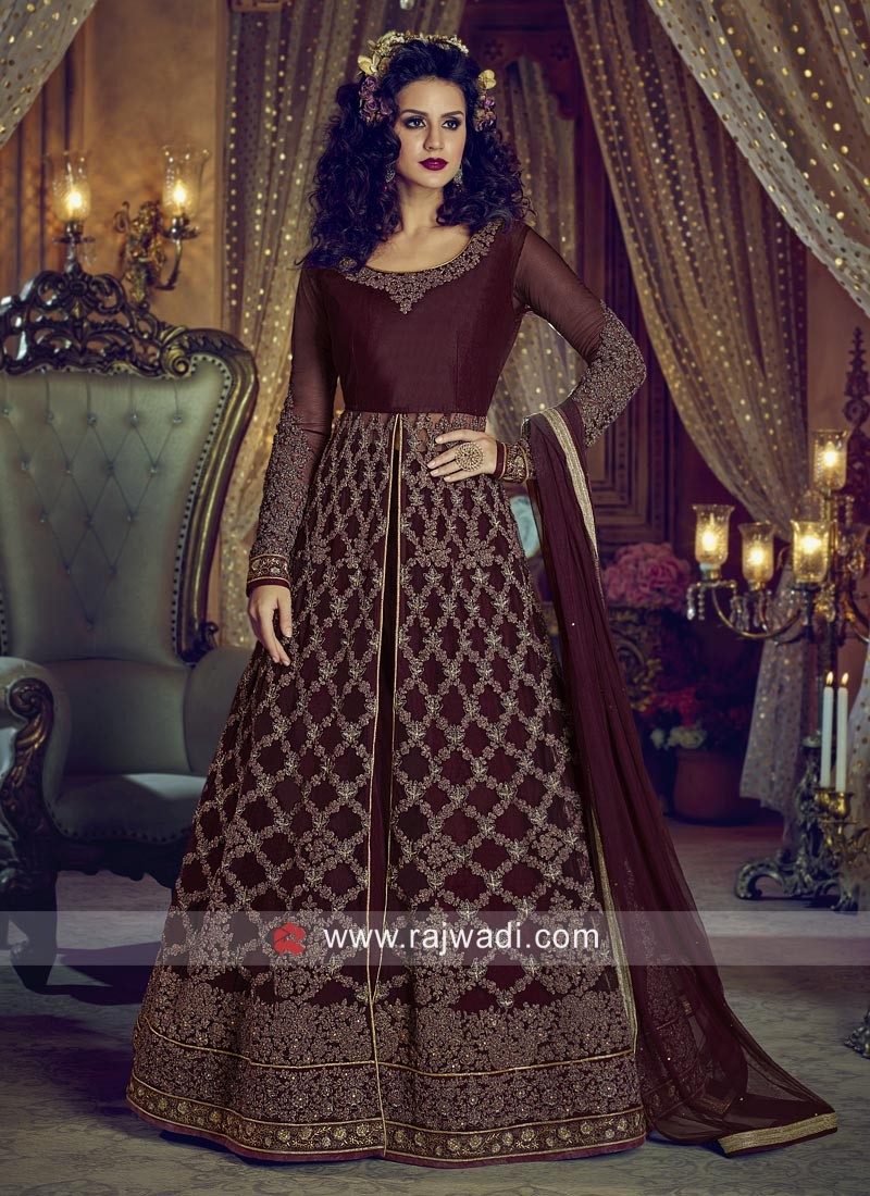 Maroon Semi Stitched Front Open Slit Salwar Suit