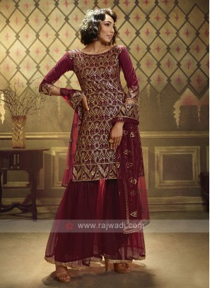 Maroon Sequins Work Dress Material