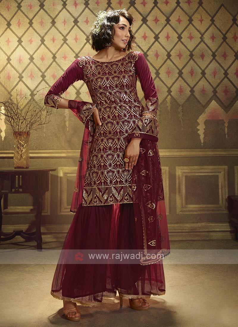 Maroon Sequins Work Dress Material