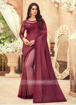 Maroon Shaded Chiffon Saree