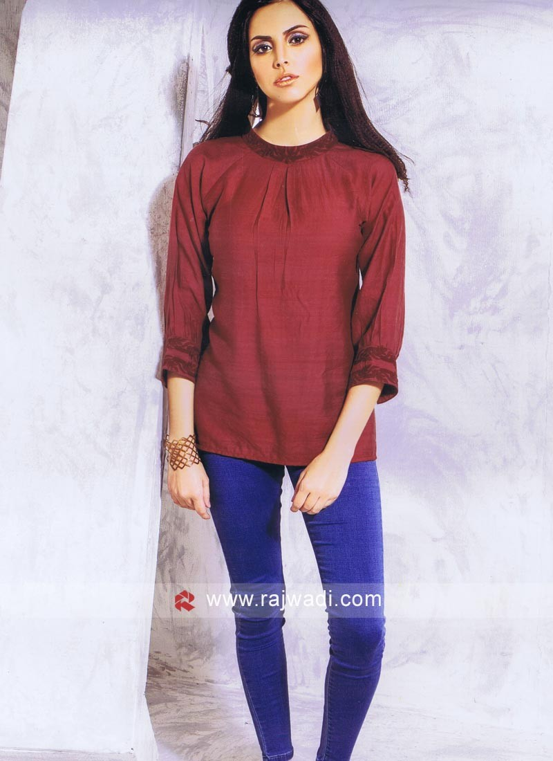 Maroon Silk Ladies Top