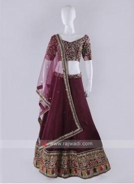 Maroon Silk Lehenga Choli