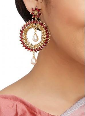Maroon Stone Work Partywear Earrings
