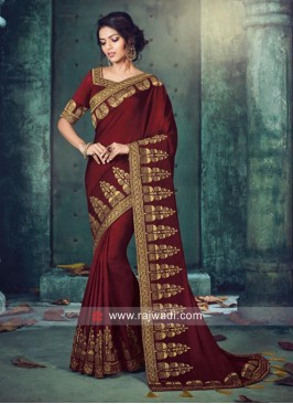 Maroon Tassel Saree with Blouse