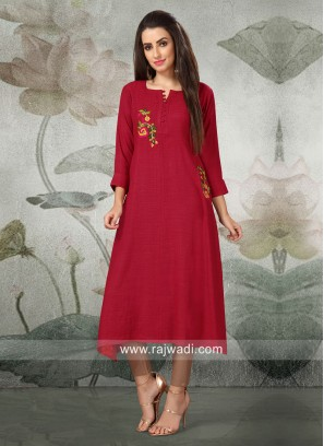 Maroon Thread Work Layer Kurti