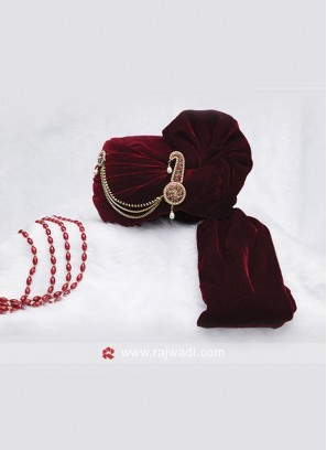 Maroon Velvet Groom Turban