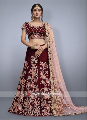 Maroon Velvet Silk Lehenga Set for Bride