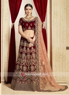 Maroon Velvet Wedding Lehenga