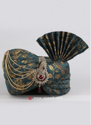 Peacock Blue Wedding Turban