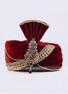 Maroon Velvet Wedding Turban