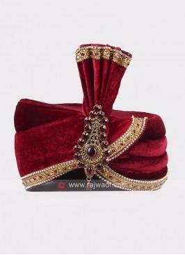 Maroon Velvet Wedding Turban
