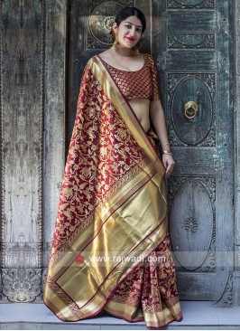 Maroon Weaved Saree