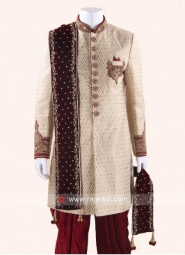 Maroon Wedding Mens Dupatta