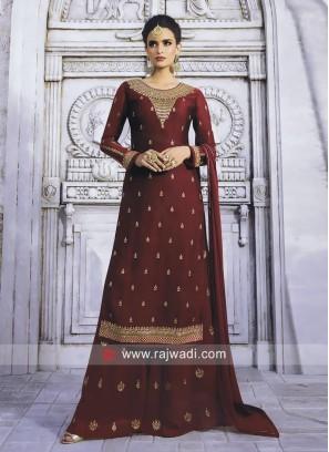 Maroon Wedding Palazzo Suit