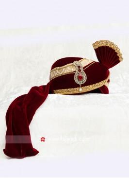 Maroon Wedding Turban For Dulha