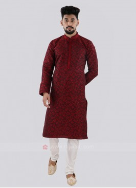 Maroon & White Kurta Pajama For Men