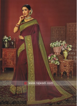 Maroon Zari Work Saree