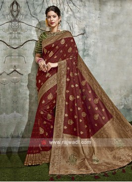 Maroon Zari Work Saree with blouse