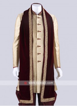 Maroon Zari Work Wedding Dupatta