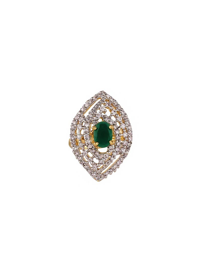 Marquise Shape Green American Diamond Ring