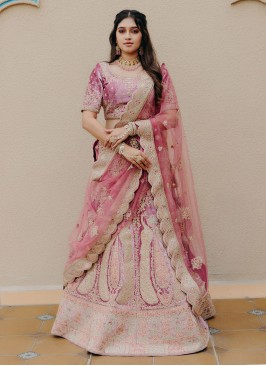 Marriage Ceremony Lehenga Choli In Pink Color