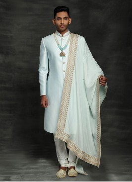 Marriage Ceremony Sherwani In Light Sky Blue Color