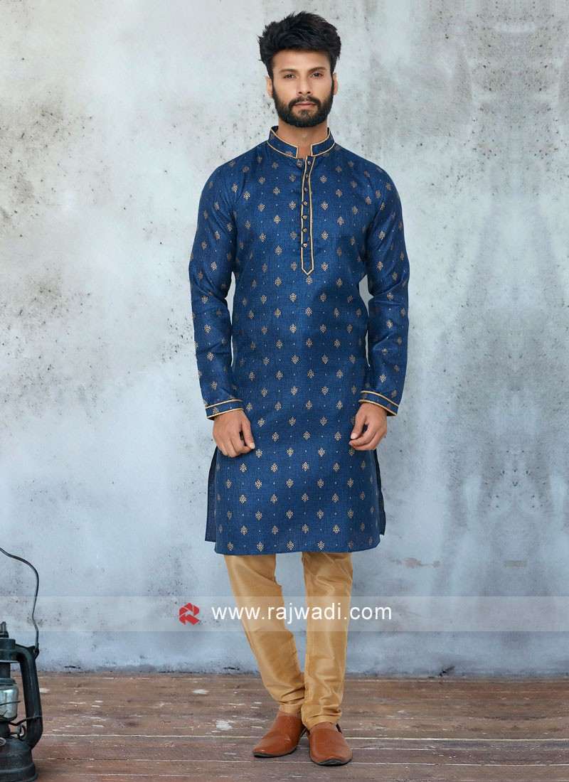 Marriage Kurta Pajama In Blue And Golden