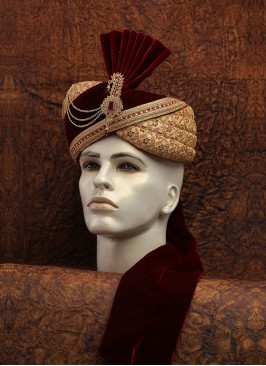 Marriage Turban In Maroon And Golden