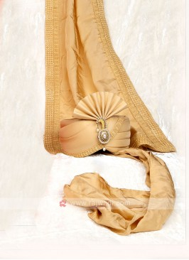 Marriage Turban With Dupatta In Golden Color