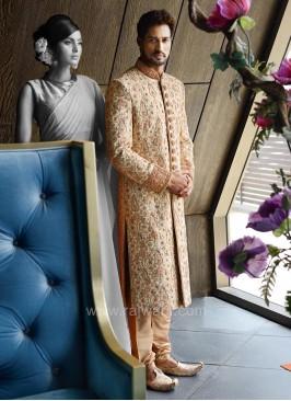 Marvelous Art Silk Golden Sherwani
