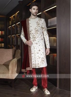 Marvelous Art Silk Sherwani With Velvet Dupatta
