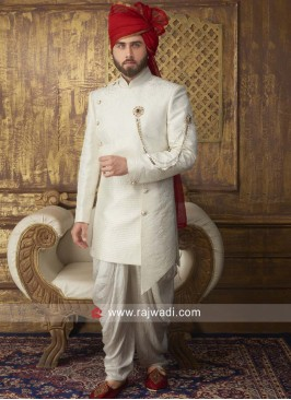 Marvelous Brocade Off White Indo Western